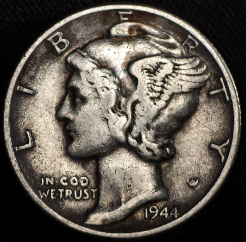 Amerikaans Mercury Silver Dime Coin stock foto