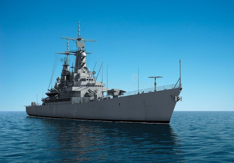 Amerikaans Modern Oorlogsschip in de Volle zee vector illustratie