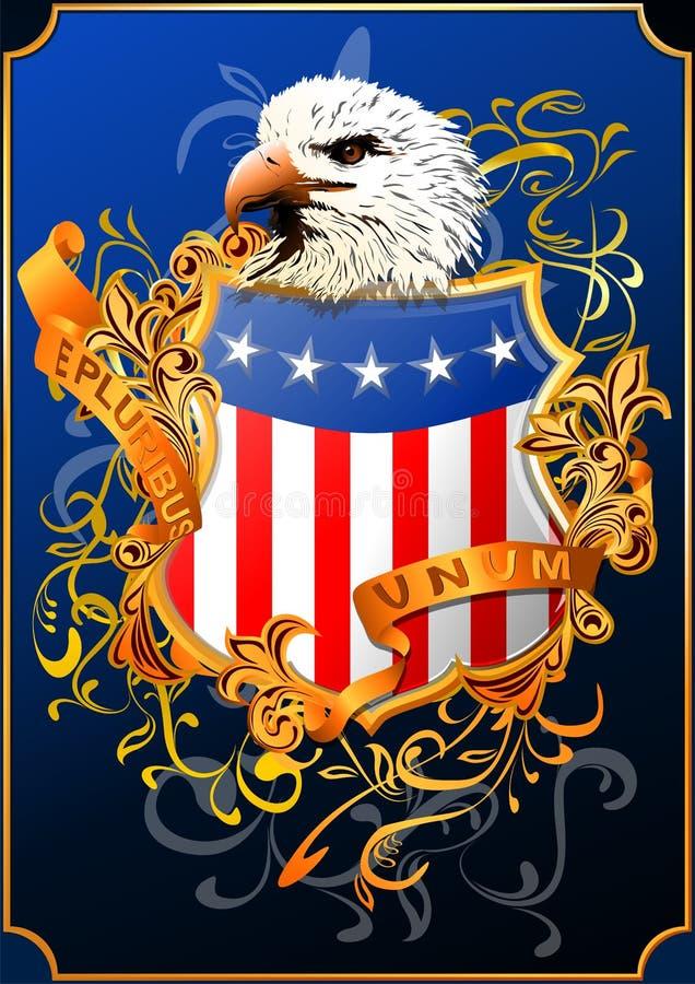 Amerikaans schild met adelaar () royalty-vrije illustratie