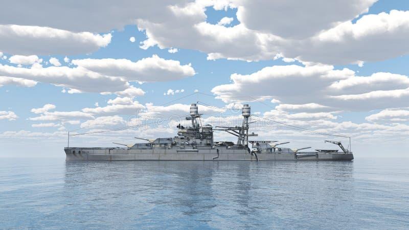 Amerikaans slagschip van Wereldoorlog 2 royalty-vrije illustratie
