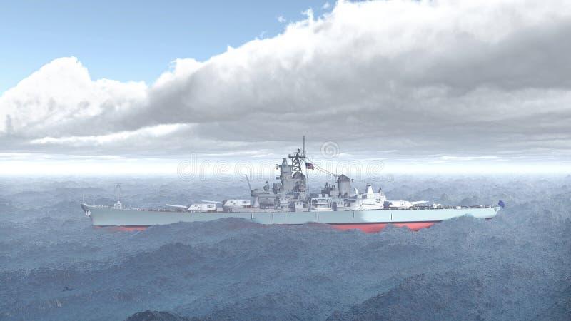 Amerikaans slagschip van Wereldoorlog 2 stock illustratie