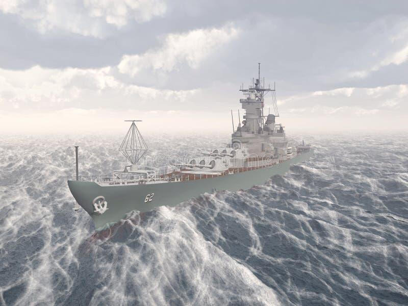 Amerikaans slagschip van Wereldoorlog II stock illustratie