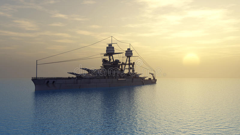 Amerikaans slagschip van Wereldoorlog II vector illustratie