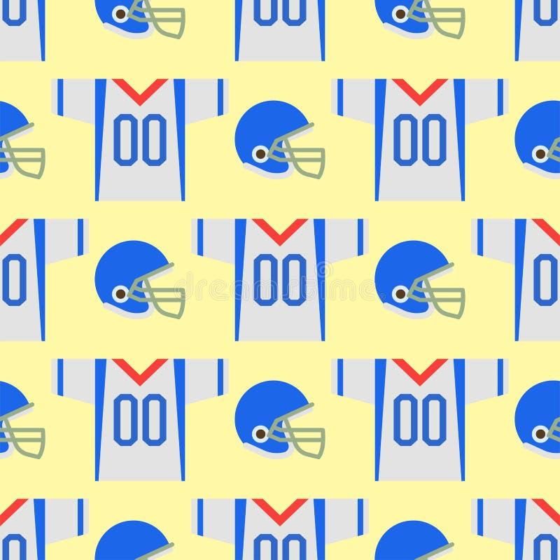 Amerikaans van het het spel naadloos patroon van de voetbalster eenvormig sport van de het beeldverhaalstijl vector de strateeg s vector illustratie