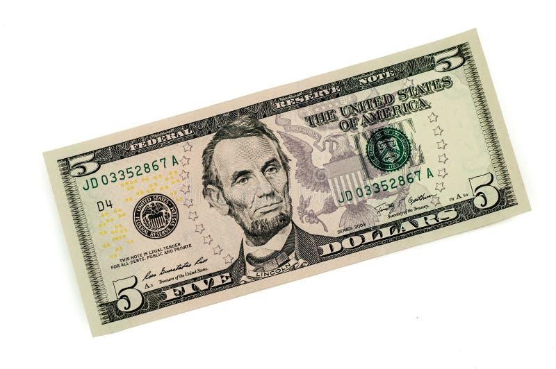 Amerikaans vijf dollarbankbiljet royalty-vrije stock foto
