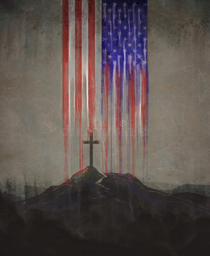 Amerikaans vlag en kruis vector illustratie