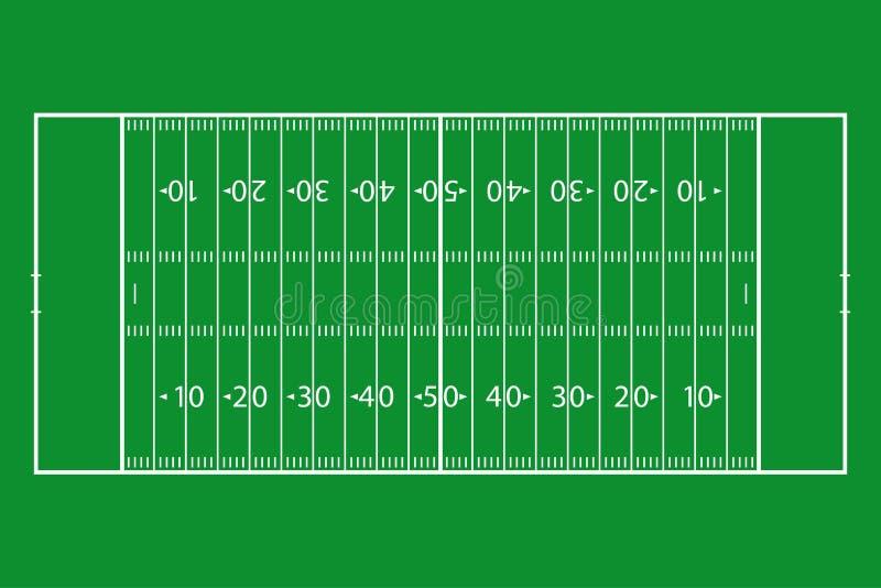 Amerikaans voetbalgebied Het groene hof van de grasvoetbal Malplaatje achtergrondgebied voor sportstrategie en affiche Vector stock illustratie