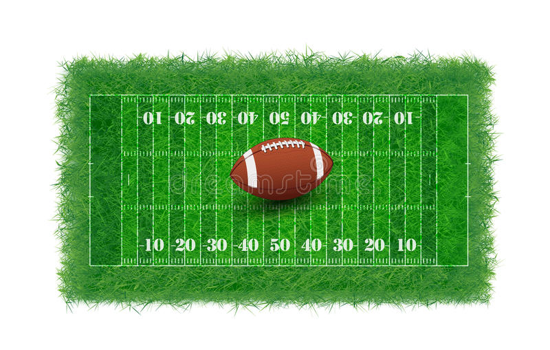 Amerikaans voetbalgebied met echt geweven gras, royalty-vrije illustratie