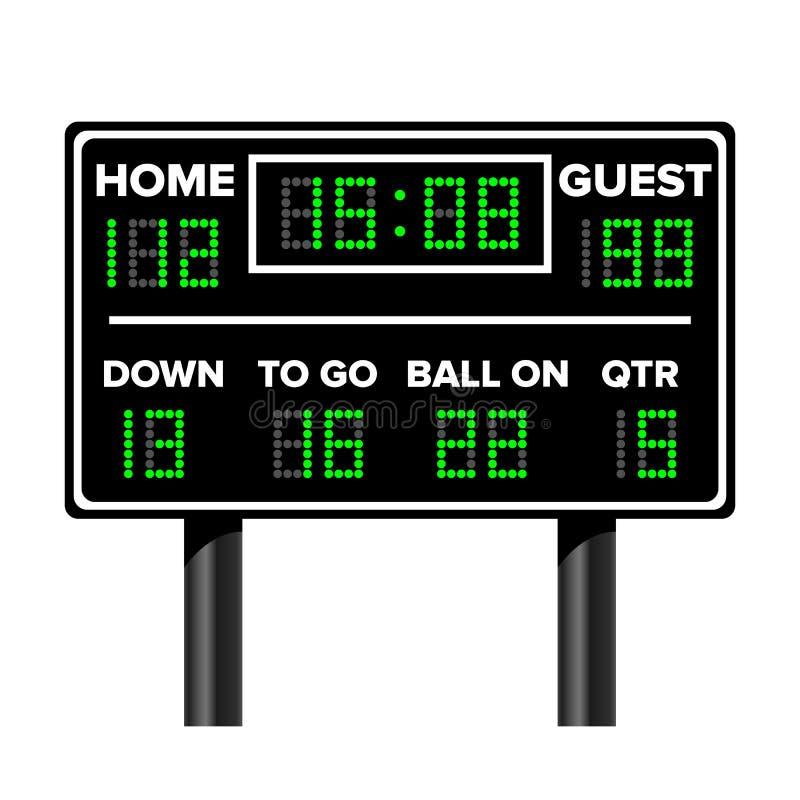 Amerikaans voetbalscorebord De Score van het sportspel Digitale LEIDENE Punten Vector illustratie Tijd, Gast, Huis royalty-vrije illustratie