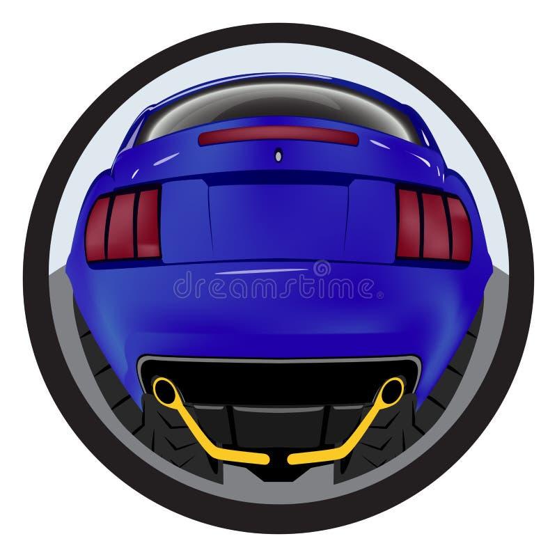 Amerikaanse aangepaste spierauto een achtermening Effect fisheye vector illustratie