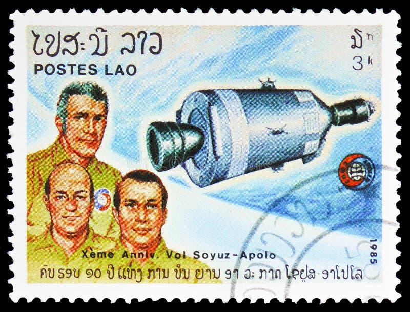 Amerikaanse Astronauten, 10de Verjaardag van Apollo en Soyuz serie, circa 1985 stock afbeeldingen