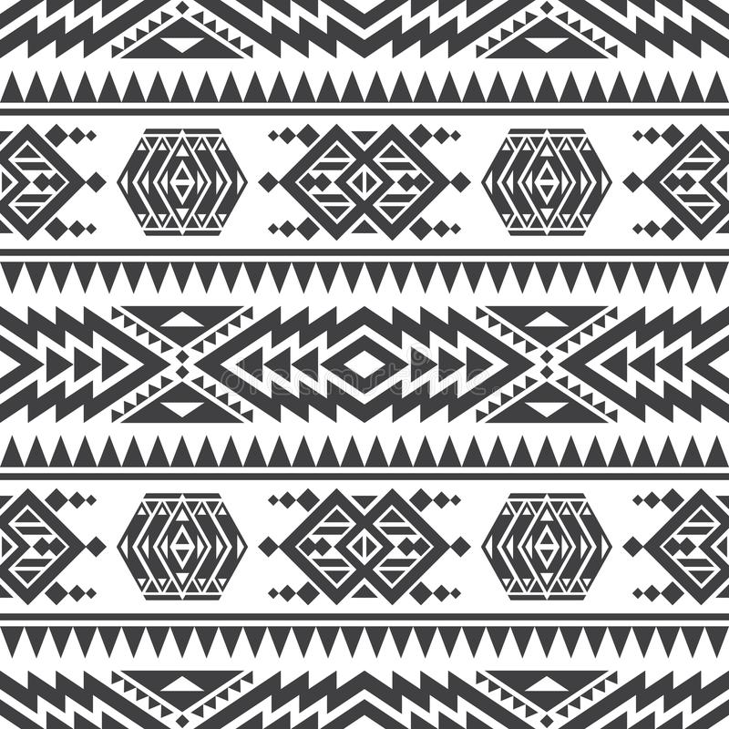 Amerikaanse Azteekse vector naadloze textuur Inheems stammen Indisch herhaald patroon stock illustratie