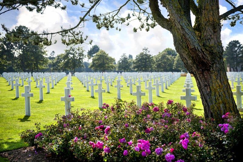 Amerikaanse begraafplaats in Omaha Beach, Normandië, Frankrijk royalty-vrije stock afbeelding