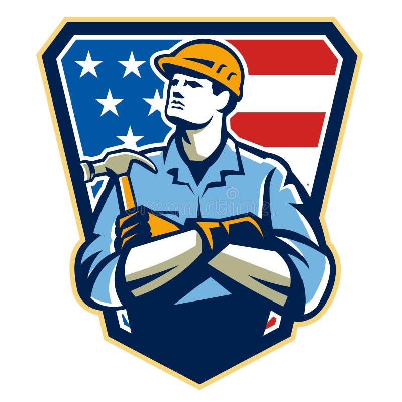 Amerikaanse Bouwerstimmerman Hammer Crest Retro stock illustratie