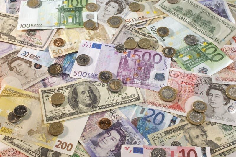 Amerikaanse, Britse en Euro Munt stock afbeelding