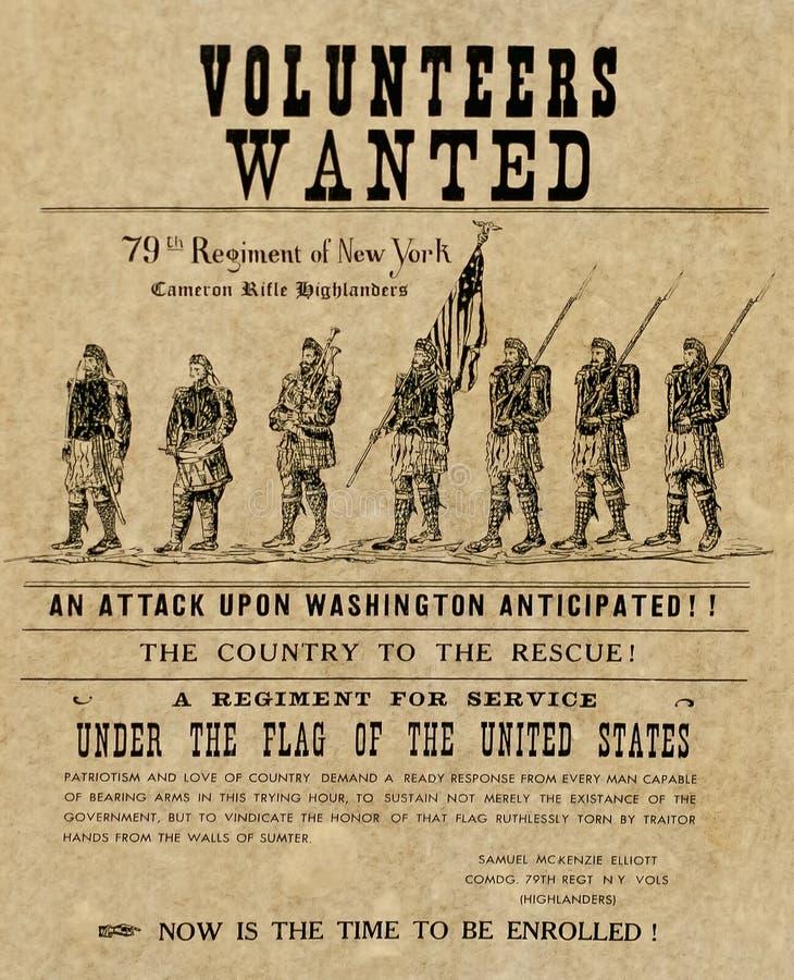Amerikaanse burgeroorlogaffiche royalty-vrije stock afbeelding