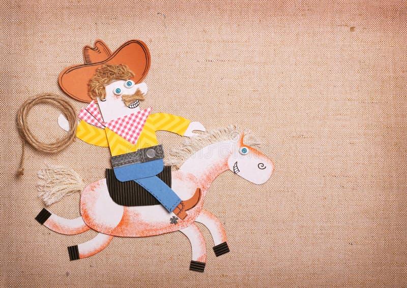 Amerikaanse Cowboy in Amerikaanse wilde het westenhoed met de rit van de cowboylasso stock illustratie