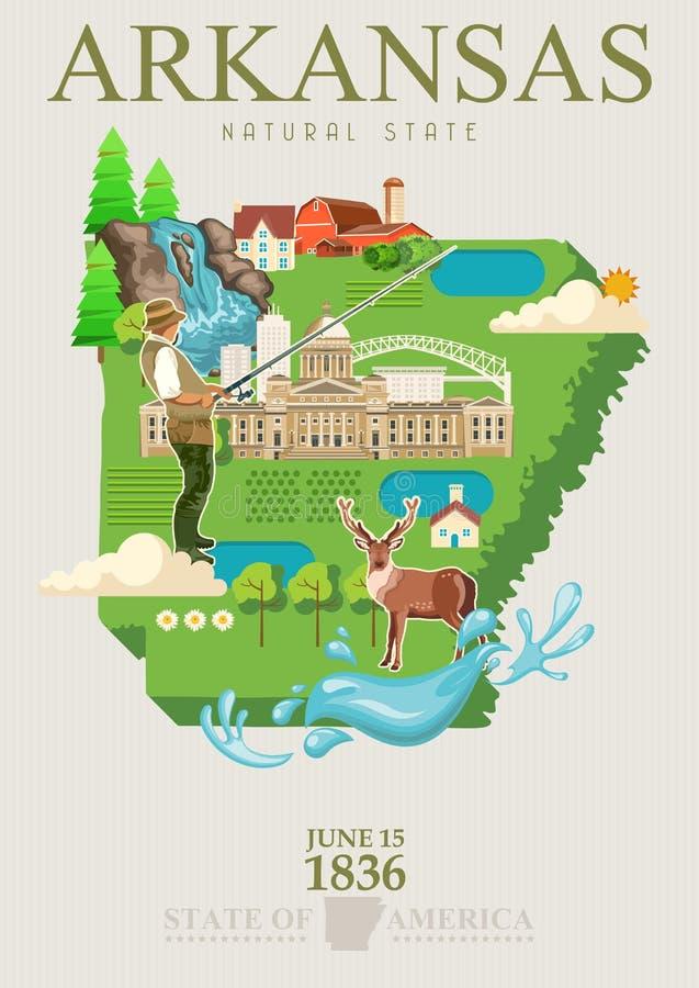Amerikaanse de reisbanner van Arkansas Affiche met de landschappen van Arkansas in uitstekende stijl vector illustratie