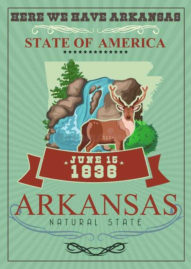 Amerikaanse de reisbanner van Arkansas Hier hebben wij Arkansas royalty-vrije illustratie