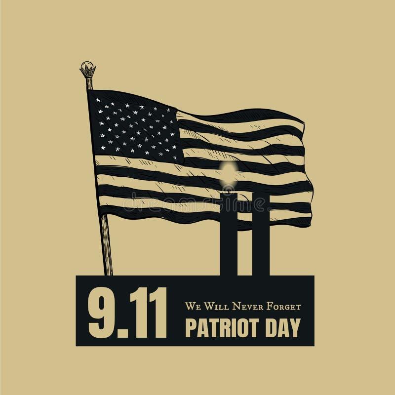 Amerikaanse de Vlagachtergrond van de patriotdag vector illustratie