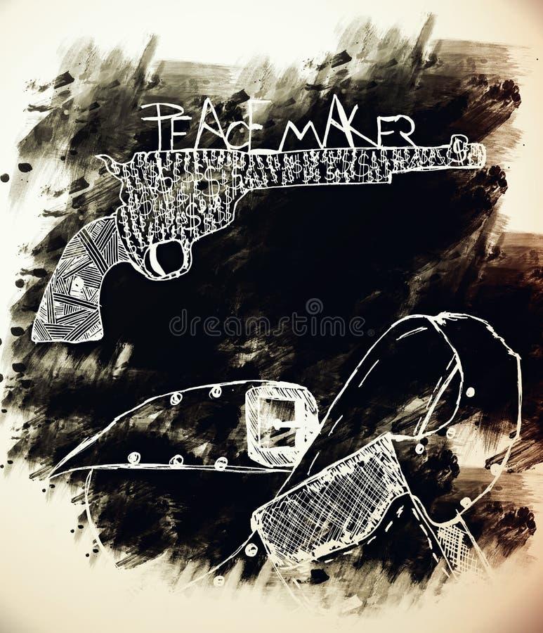 Amerikaanse de zes-schutter van de het Westenlegende revolver stock afbeeldingen