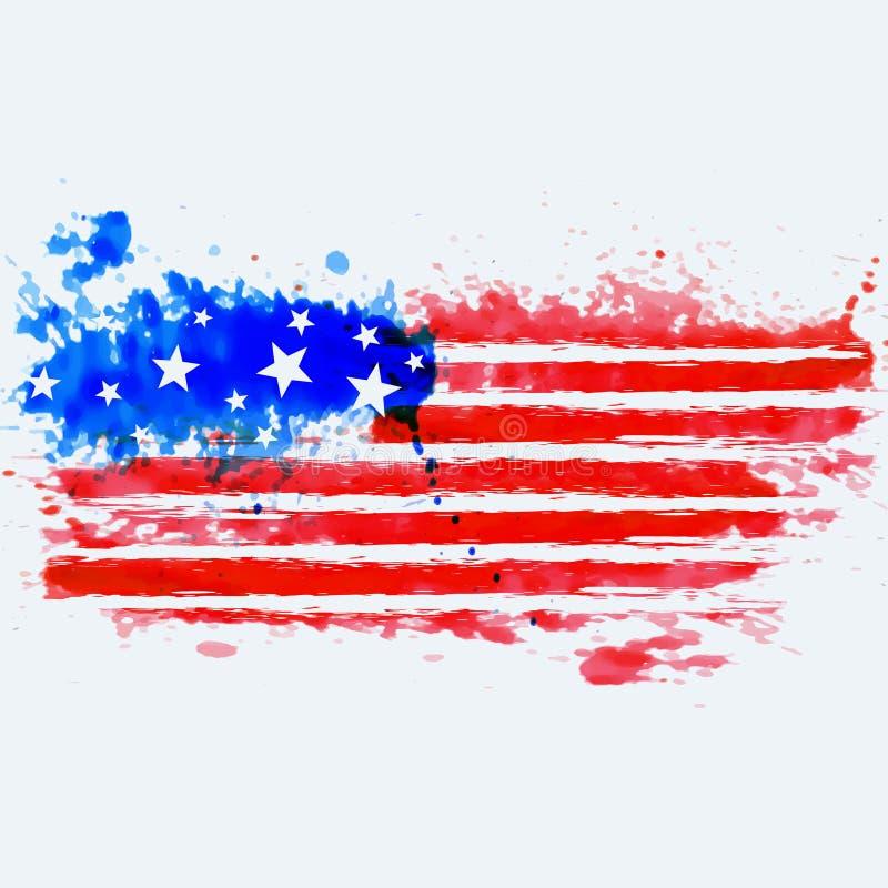 Amerikaanse die vlag met waterverf wordt gemaakt vector illustratie