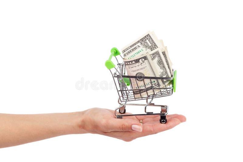 Amerikaanse dollars in de het winkelen geïsoleerde handkar, royalty-vrije stock fotografie