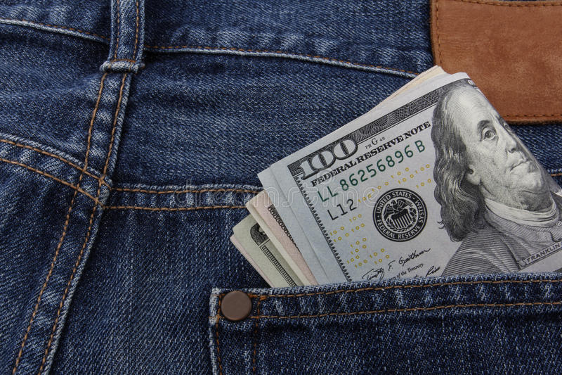 Amerikaanse dollars in een zak royalty-vrije stock foto's