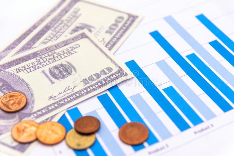 Amerikaanse dollars met grafiek op witte blackground stock afbeelding