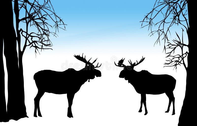 Amerikaanse elanden in de Winter vector illustratie
