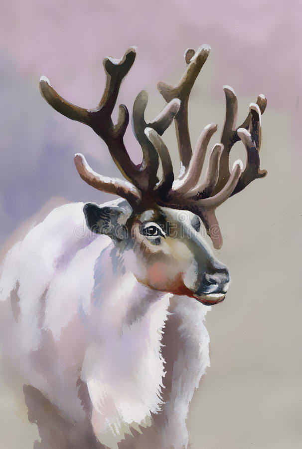 Amerikaanse elanden in de winterbos stock illustratie