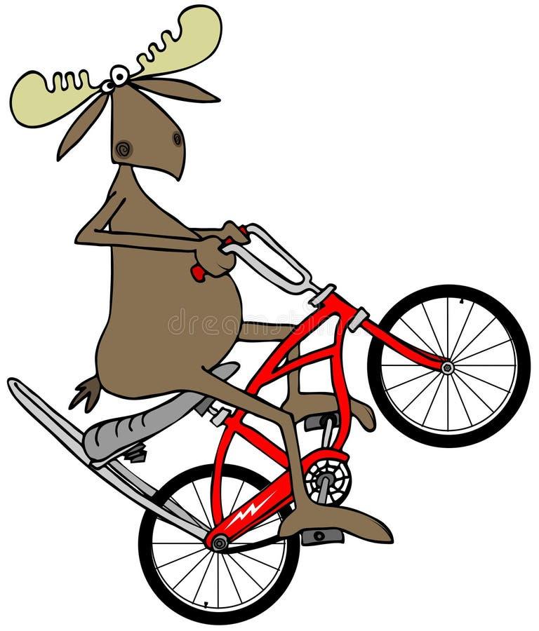 Amerikaanse elanden die een wheelie op een fiets knallen vector illustratie