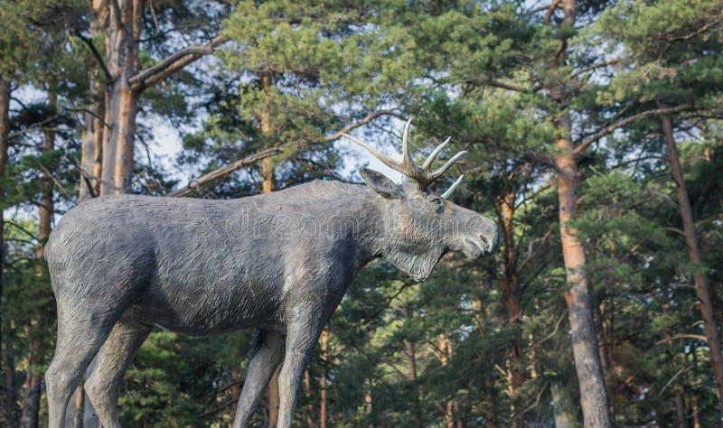 Amerikaanse elanden dierlijk beeldhouwwerk stock foto's