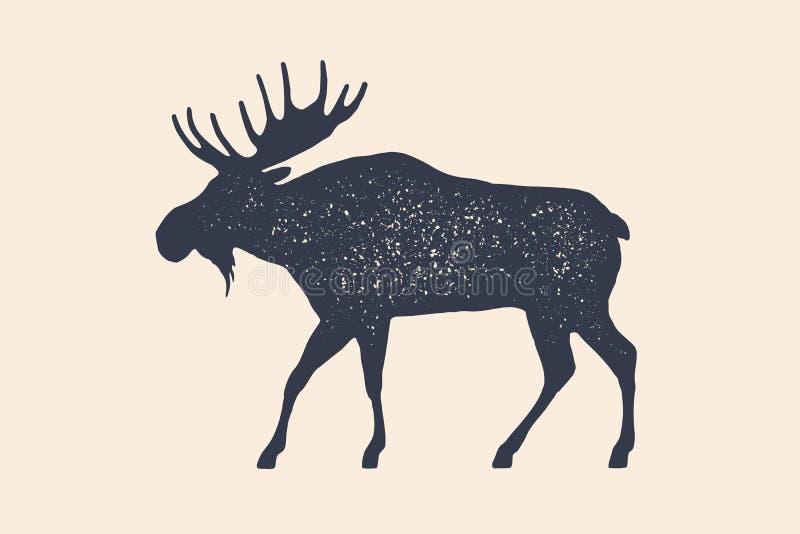 Amerikaanse elanden, wilde herten Conceptontwerp van landbouwbedrijfdieren royalty-vrije illustratie