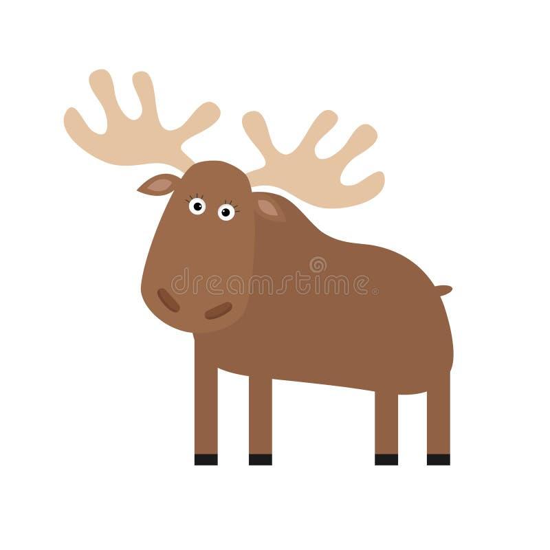 Amerikaanse elandenelanden Leuk beeldverhaal grappig karakter Bos amimal inzameling Geïsoleerde Witte achtergrond royalty-vrije illustratie
