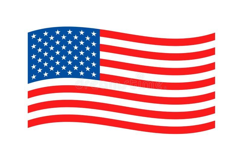 Amerikaanse Golvende vlag op witte achtergrond De gekleurde vlag van de V.S. Vectorillustratie van Amerikaanse vlag vector illustratie