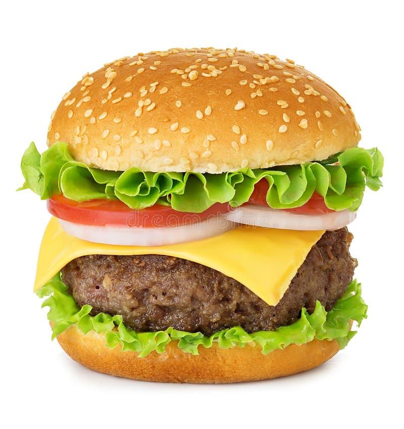 Amerikaanse grote heerlijke klassieke die hamburger op witte achtergrond wordt geïsoleerd royalty-vrije stock foto