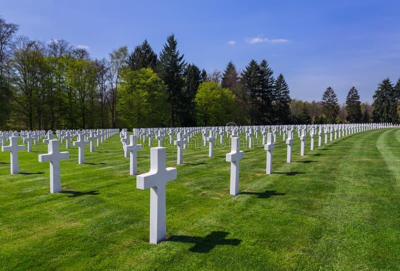 Amerikaanse herdenkingsbegraafplaats van Wereldoorlog II in Luxemburg stock foto's