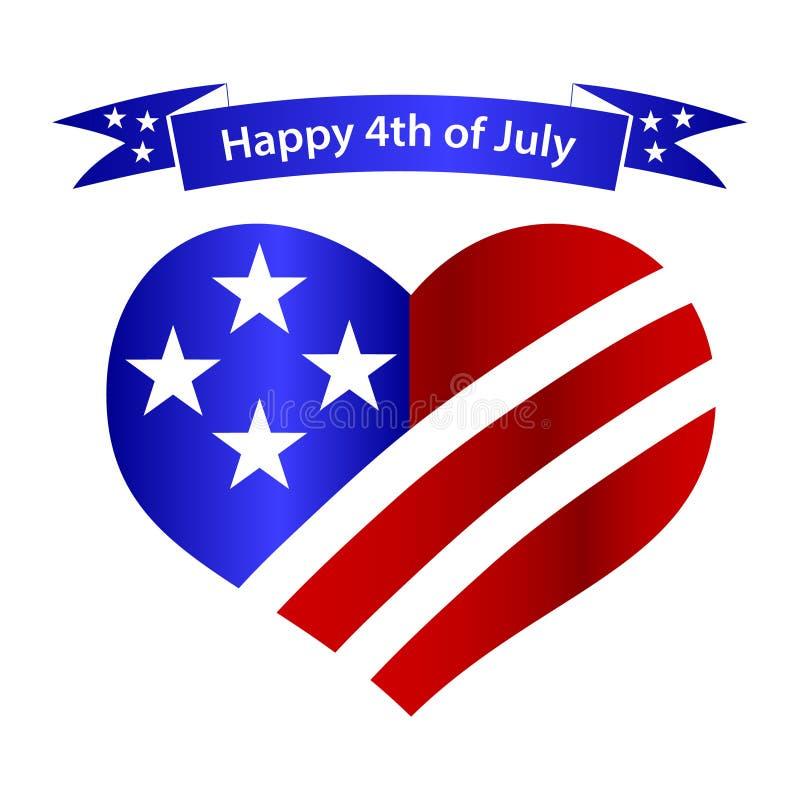 Amerikaanse het hart en de bannerviering eps10 van de onafhankelijkheidsdag royalty-vrije illustratie