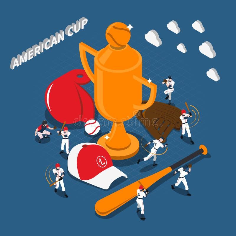 Amerikaanse het Spel Isometrische Illustratie van het Kophonkbal stock illustratie