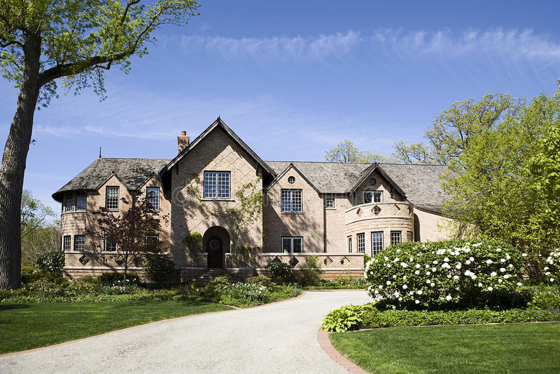 Amerikaanse huis en tuin. royalty-vrije stock foto's