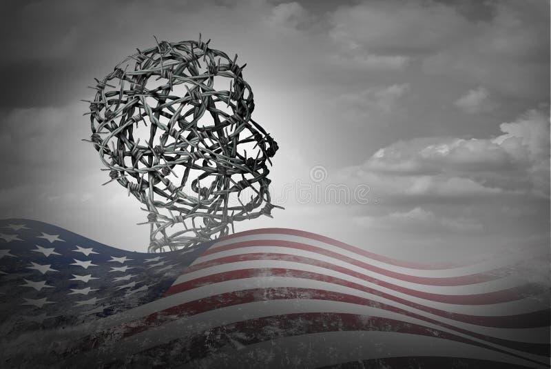 Amerikaanse Illegale immigratie royalty-vrije illustratie