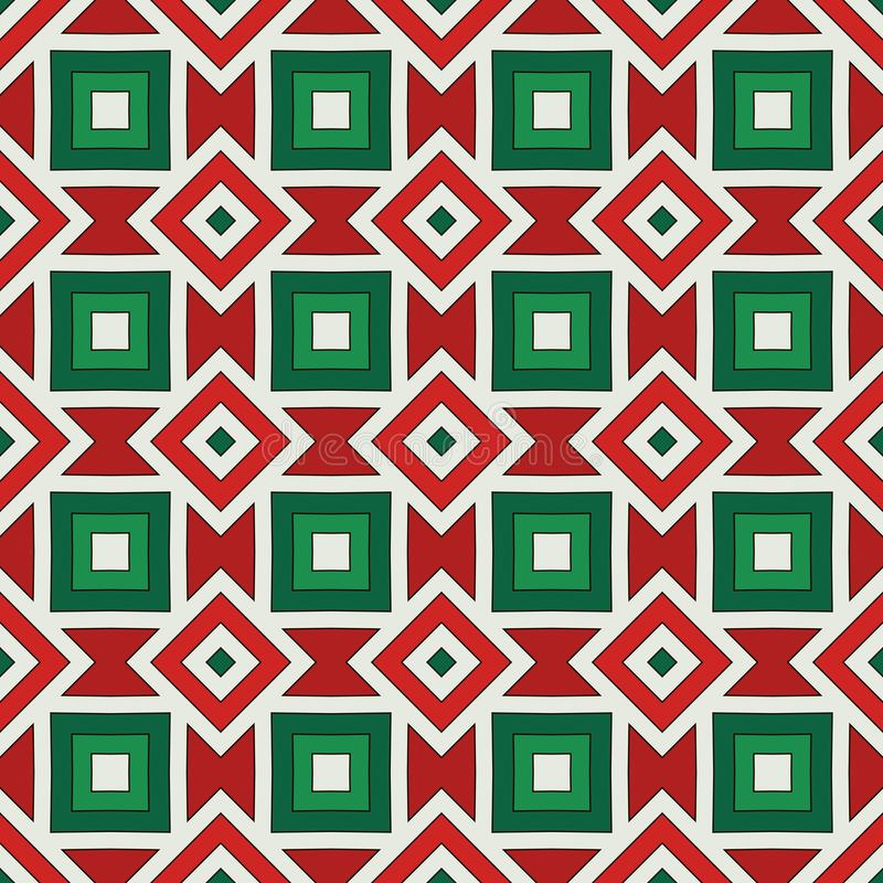 Amerikaanse inheemse achtergrond Afrikaans stijlornament Etnisch en stammenmotief Naadloos patroon in de kleuren van Kerstmis stock illustratie
