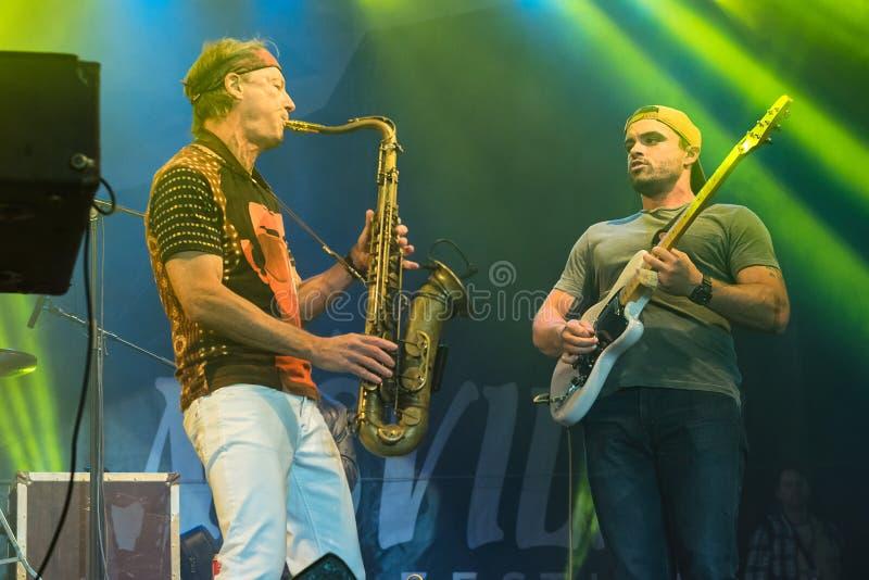 Amerikaanse jazzsaxofonist Bill Evans levend in Nisville Jazz Festival, 13 Augustus 2016 royalty-vrije stock afbeelding