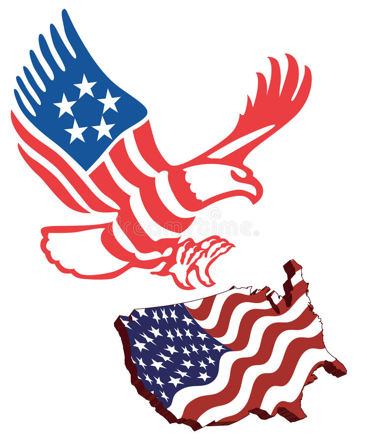 Amerikaanse kaartvlag royalty-vrije illustratie