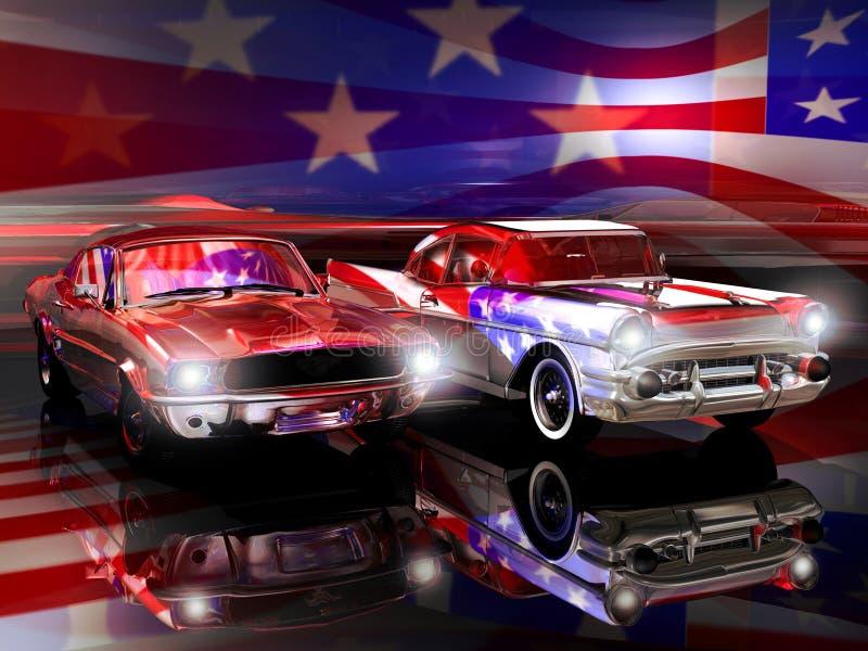 Amerikaanse klassieke auto's stock illustratie