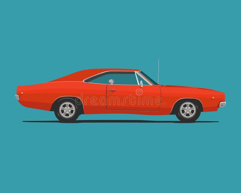 Amerikaanse klassieke spierauto vector illustratie