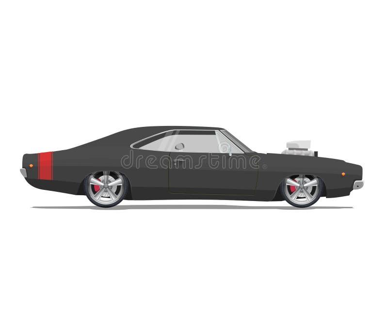 Amerikaanse klassieke spierauto Hoog gedetailleerde vectorillustratie royalty-vrije illustratie