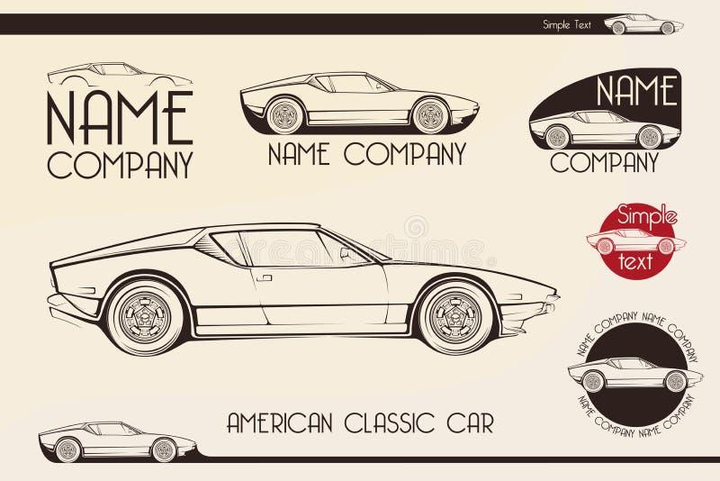 Amerikaanse klassieke sportwagen, silhouetten vector illustratie