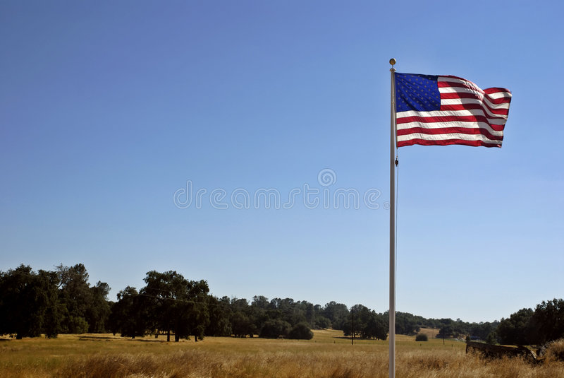 Amerikaanse Lan van de Vlag & van Californië royalty-vrije stock foto